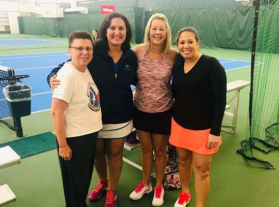 Women at tennis court