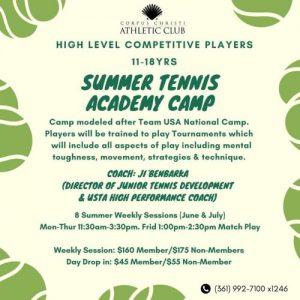 CCAC Summer Tennis flyer