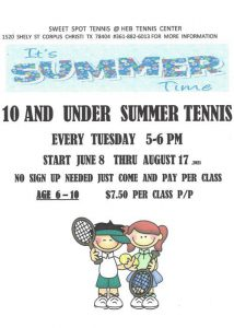 HEB Summer Tennis flyer