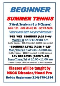 NSCC Summer Tennis flyer